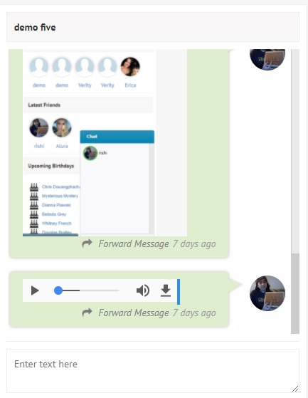 screenshot of media on messages page